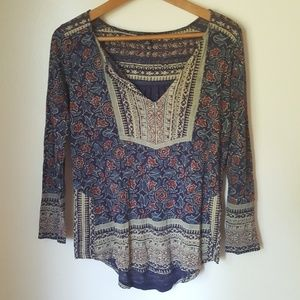 Lucky Brand Floral Woodblock Blouse
